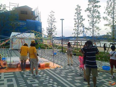 まちなみ公園9月のイベント、洗濯ばさみアート空間