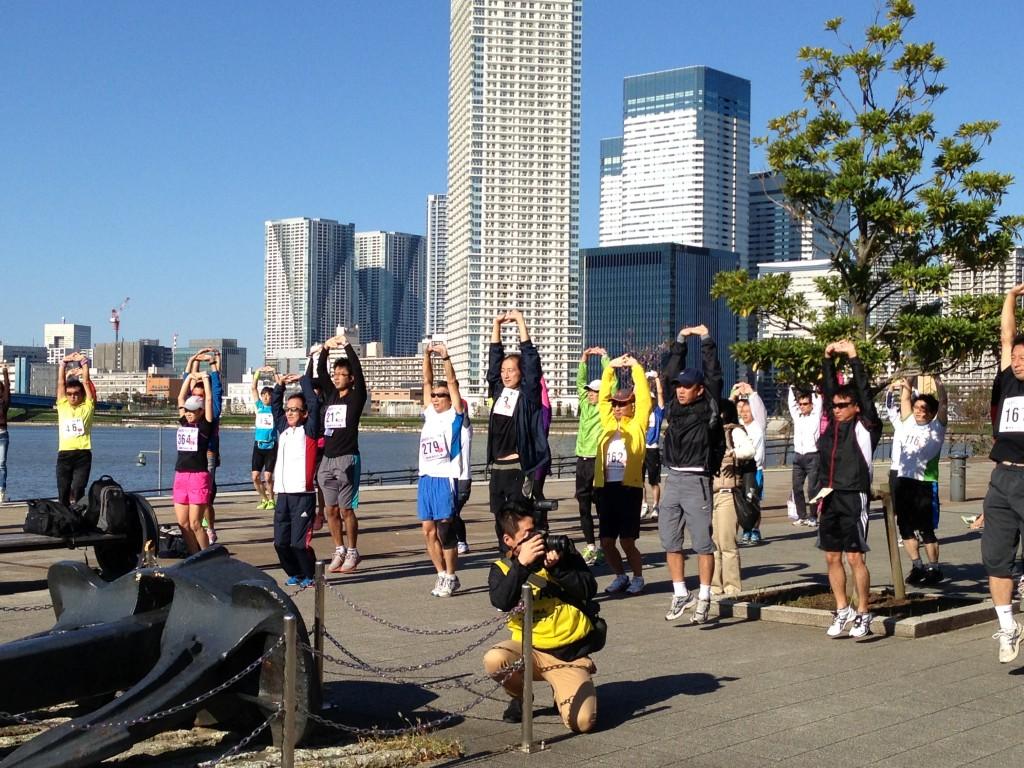第4回豊洲マラソン大会開会式での準備体操