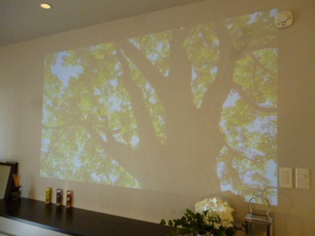 ヤマダ・エスバイエルホーム寝室の壁はスクリーンにもなります。